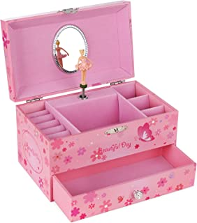 SONGMICS Ballerina Music Jewelry Box Storage Case with Drawer, Gift for Little Girls, Princess and Butterfly, Pink UJMC003