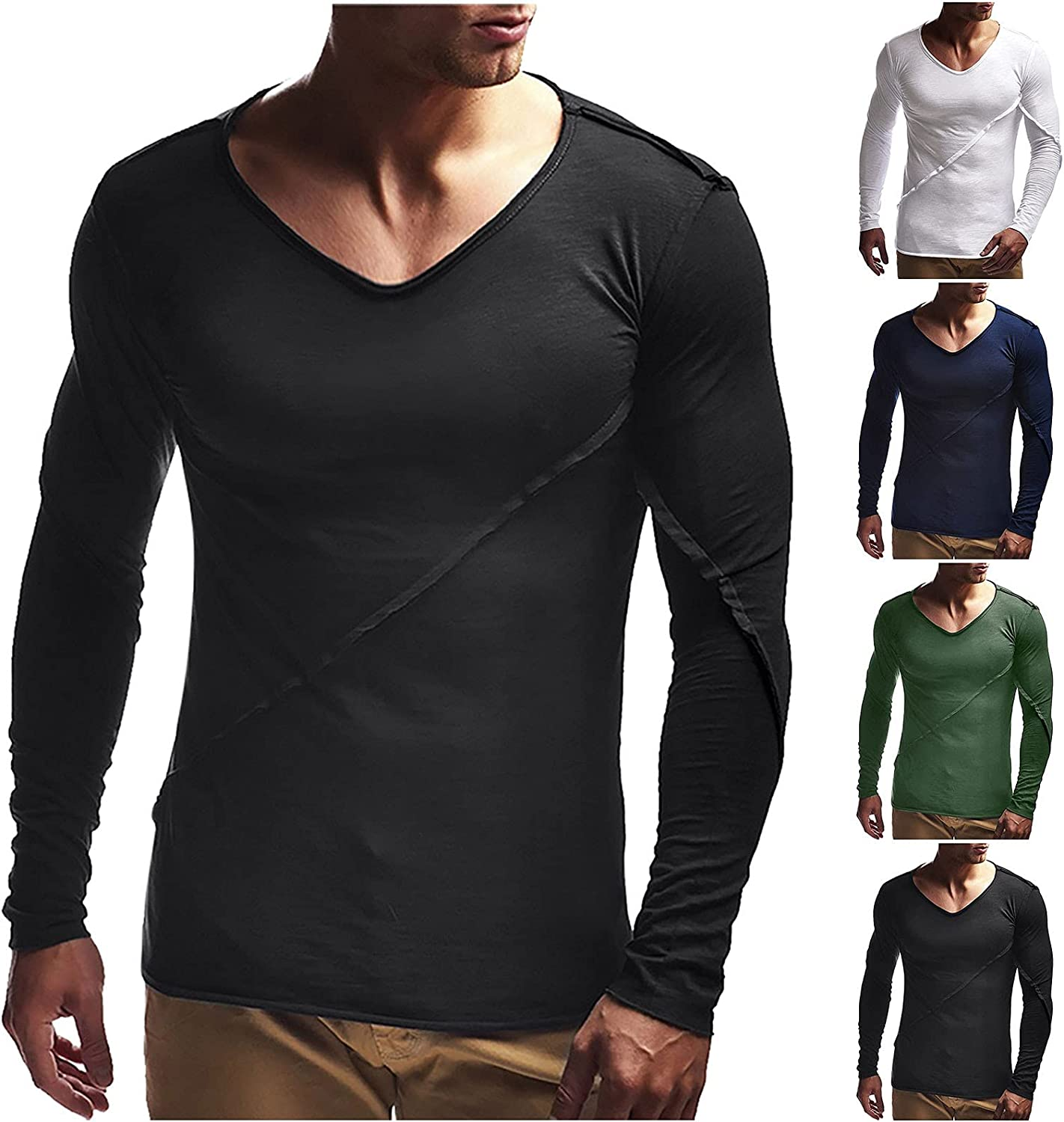 xoxing Long Sleeve for Men Plus Size Casual Loose V-Neck Solid Fit Pleated Shirt Fitness Blouse Pullover