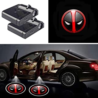 2pcs Universal Wireless Car Projection LED Projector Door Shadow Light Welcome Light Emblem Logo Lamps for Deadpool Head