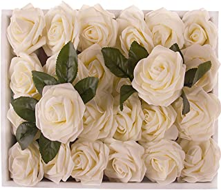 M&A Decor Artificial Roses 30 PCS Real Touch Fake Flowers for Wedding Party Flower Wall Kissing Ball Table Centerpieces Wreath, Ivory