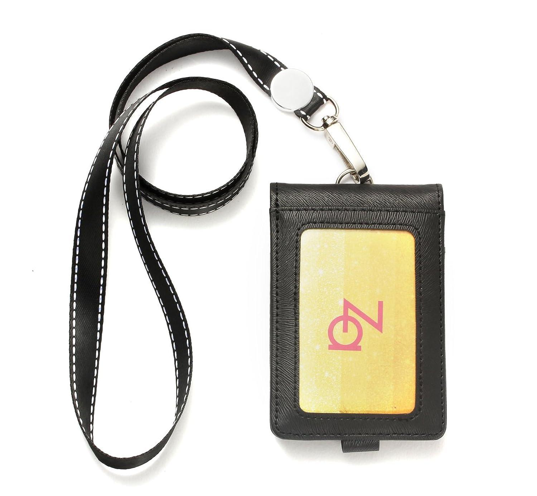 KELEIN パスケース 定期入れ メンズ レディース 交通カード 社員証 ネームホルダー 二つ折りカード5枚収納 レザー革 ICカード 通勤 通学