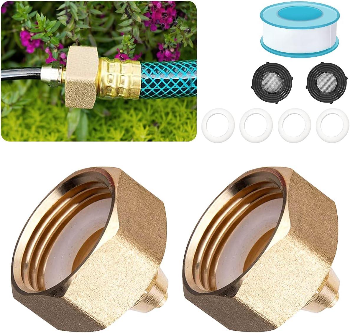 SwiSnail 2 Pack Garden Hose Adapter, Solid Brass 3/4''Female Thread to 1/4'' Hose Adapter, Convert 3/4