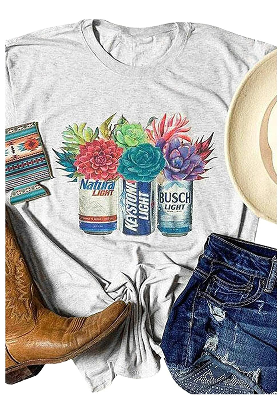Women Busch Light Beer T-Shirt Cactus Graphic Adult Novelty Funny Casual Tee