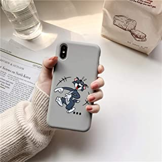Funny Cartoon Cat and Mouse Phone Case for iPhone X XS Max XR 7 8 Plus Slim Soft Silicone Cover Cute Tom Jerry Couples Case (2, iPhone xr)