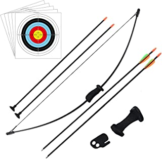 DOSTYLE Outdoor Youth Recurve Bow and Arrow Set Children Junior Archery Training Toy for Kid Teams Game Gift (4Arrows,5Tar...