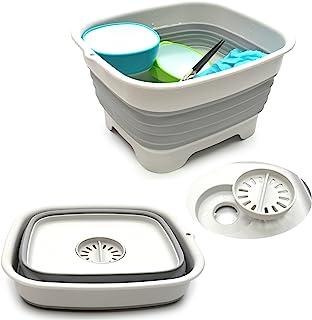 SAMMART 9.1L (2.4Gallon) Collapsible Dishpan with Draining Plug - Foldable Washing Basin - Portable Dish Washing Tub - Spa...