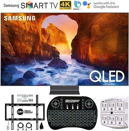 "$4699 Get Samsung QN82Q90RA 82"" Q90 QLED Smart 4K UHD TV (2019 Model) - (Renewed) with Flat Wall Mount Kit Bundle for 45-90 TVs + 2.4GHz Wireless Backlit Keyboard Smart Remote + 6-Outlet Surge Adapter"