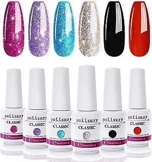 Glitter Gel Nail Polish Set - 6 Colors Red Fairy Gel Polish Kit, Soak Off UV LED Nail Gel Set, 8ml Each Bottle Gel Nail Art Gifts Box