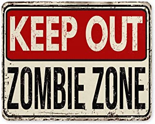 Funny Vintage Rusty Metal Sign Keep Out Zombie Zone Rectángulo Goma antideslizante Alfombrilla de ratón Alfombrillas de ratón / Alfombrillas de ratón Funda para oficina Hogar Mujer Hombre Empleado Jef