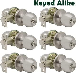 Probrico Satin Nickel Entry Door Knobs Combo Pack, 6 Pack Keyed Alike Entrance Door Locks, Ball Door Knobs with Lock and Keys for Interiro Exterior