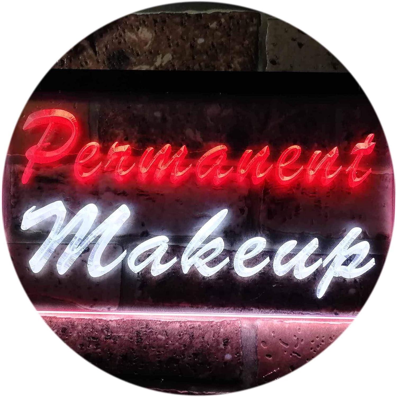 ADVPRO Permanent Makeup Beauty Salon Dual Farbe LED Barlicht Neonlicht Lichtwerbung Neon Sign Weiß & rot 400mm x 300mm st6s43-m0037-wr
