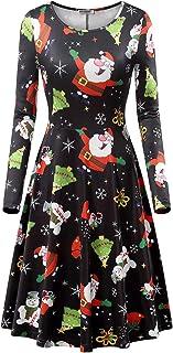 b8c0137ad213 HUHOT Christmas Dresses,Women Long Sleeves A Line Gift Xmas Santa Print  Ugly Party Dress