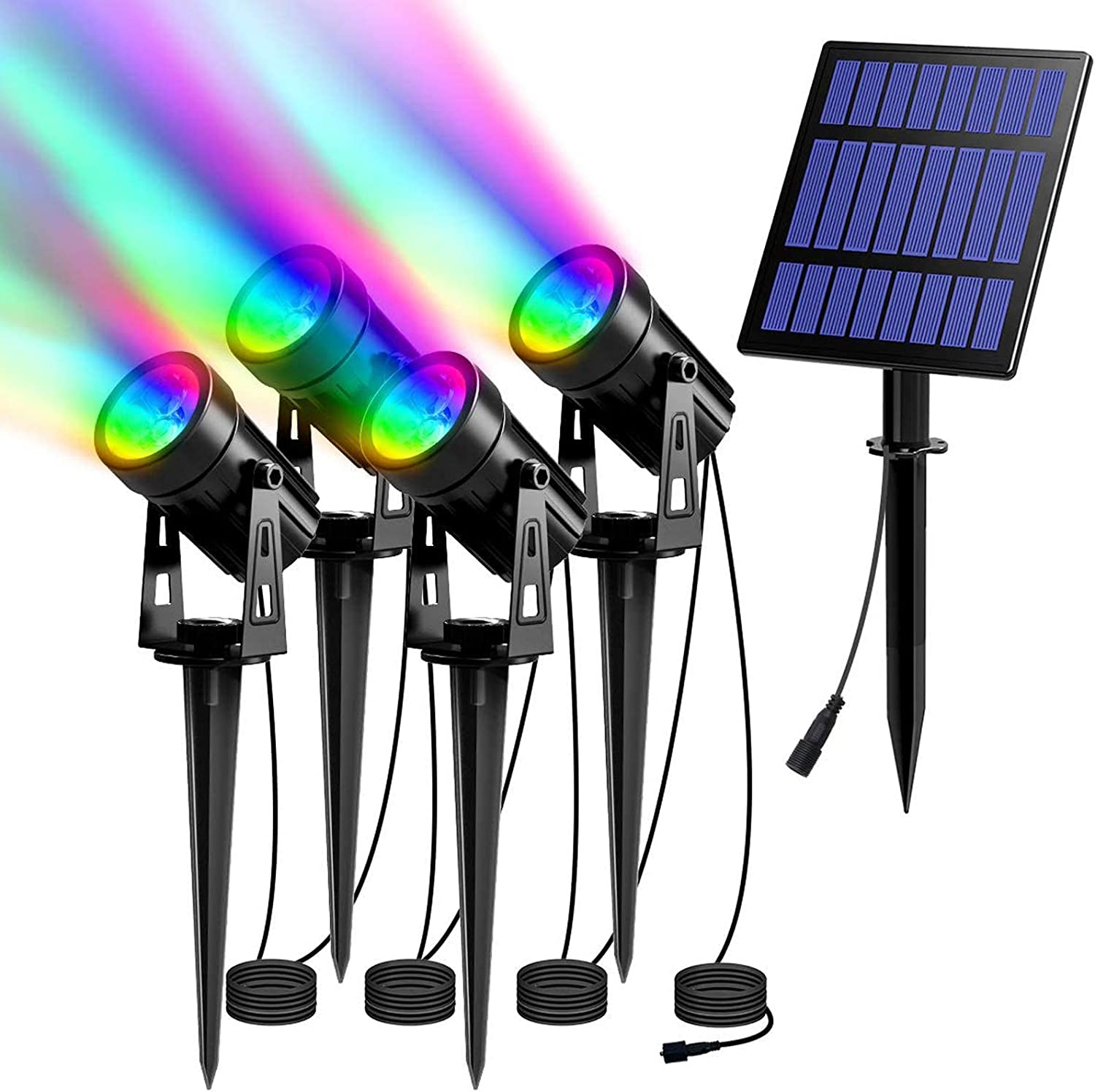 T-SUN RGB Solar Spotlights Outdoor Lights with Pack 4 Sacramento Mall 5W Super popular specialty store