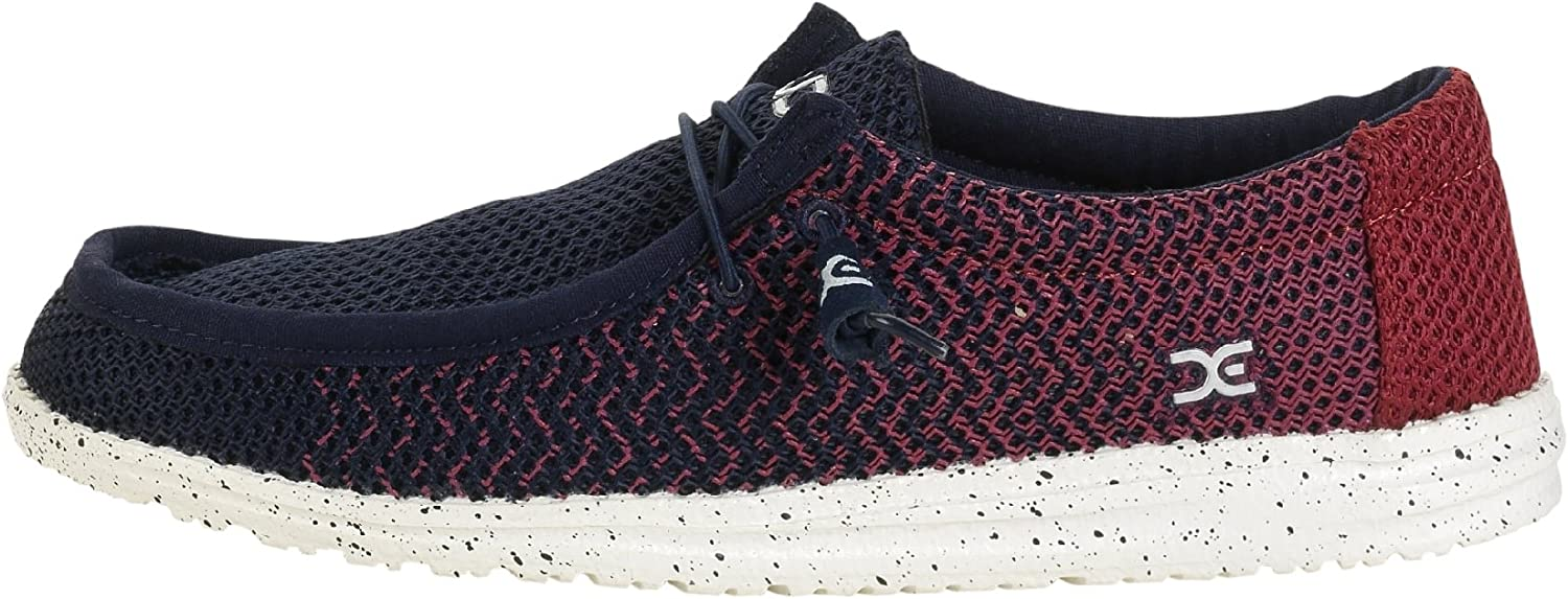Dude shoes Hey Wally Mesh Navy Red Gradient