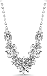 Steve Madden Women's Rhinestone Floral Statement Necklace