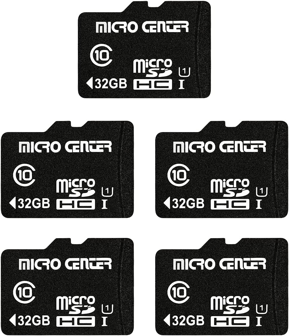 Micro Center 32GB Class 10 Micro SDHC Flash Memory Card with Adapter for Mobile Device Storage Phone, Tablet, Drone & Full HD Video Recording - 80MB/s UHS-I, C10, U1 (5 Pack)