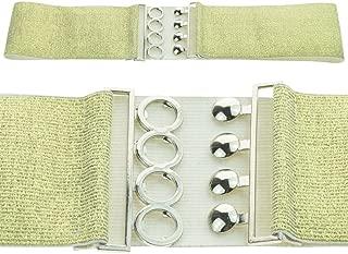 Wiwsi Retro Women Girl Ladies Elastic Waist Belt Corset Silver Buckle Fastening