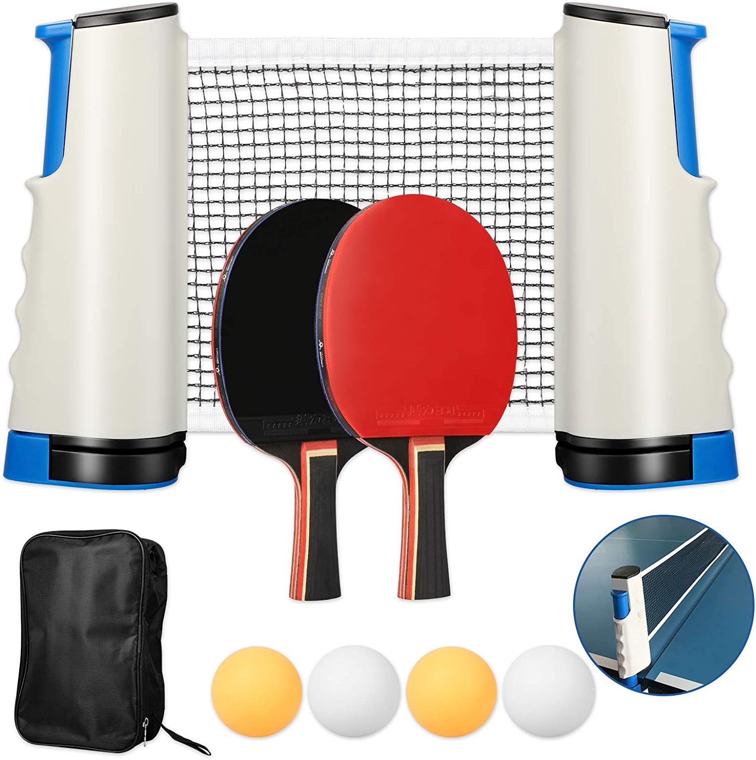 EEEKit Professional Popular overseas Ping Pong Paddle Retractable with Net Set 2 Recommended