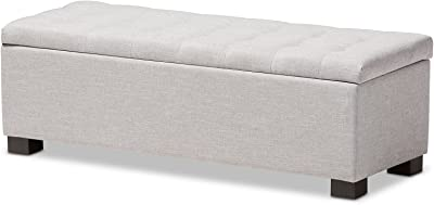 Baxton Studio Orillia Modern and Contemporary Fabric Grid-Tufting Storage Ottoman Bench, Greyish Beige