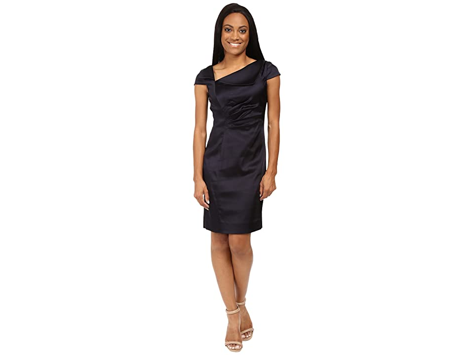 Tahari by ASL Petite Stretch Satin Fold-Over Neck (Navy) Women