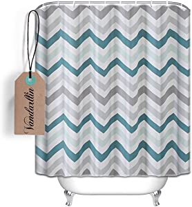 "Vandarllin Chevron Pattern Design Fabric Shower Curtain 72"" x 84"" Extra Long Size- Assorted Colors(Aqua,Grey)"