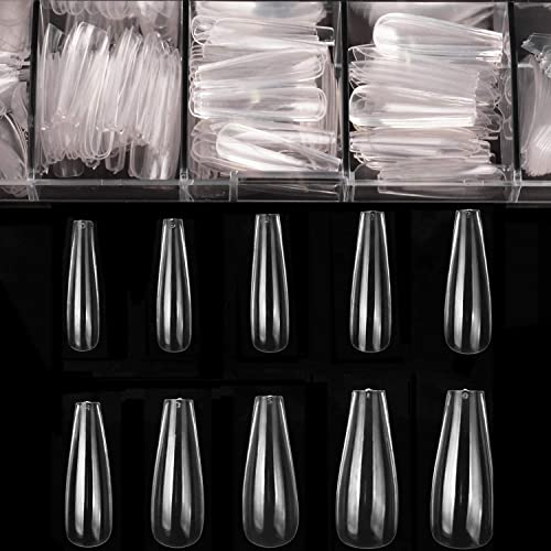 Coffin Nails Long Nails - Clear Acrylic Nails Coffin Shaped Ballerina Nails Tips BTArtbox 500pcs Full Cover False Nail Artificial Nails with Case for Nail Salons and DIY Nail Art, 10 Sizes product image
