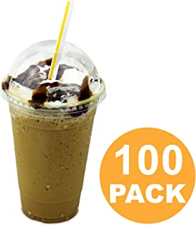 [100 Pack] 20 oz BPA Free Clear Plastic Cup With Dome Lid for Iced Cold Drink Coffee Tea Juice Smoothie Bubble Boba Frappucino, Disposable, Large Size