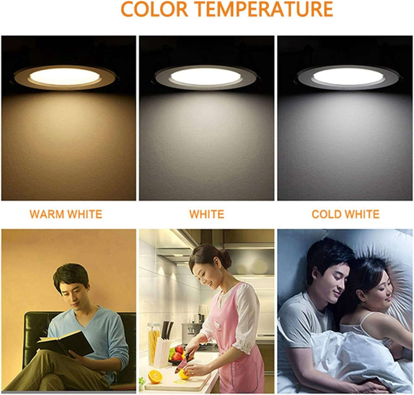 Tlwangl Downlight 10pcs//lot Dimmable Waterproof LED Downlight 7W//9W//12W//15W//18W//25W Indoor House Lighting LED lamp Cool//Pure//Warm White Emitting Color : Cold White, Wattage : 18w