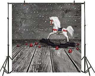 Leyiyi 5x5ft Photography Backdrop Merry Christmas Background Vintage Grunge Cabin Happy New Year Rocking Horse Unicorn Christmas Room Set Children Toy Doll Photo Portrait Vinyl Video Studio Prop