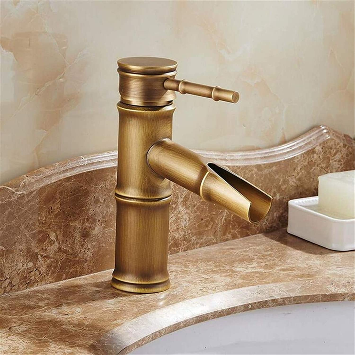 Kitchen Brass Bathroom Retro Bathroom Faucet Antique Bronze Finish Brass Basin Sink Faucet Single Handle Bamboo Water Tap