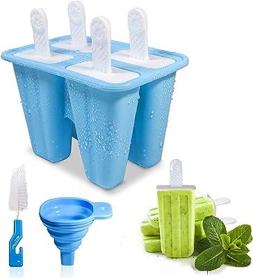 Moldes de silicona para helados y helados, con palos y protectores de goteo, reutilizables, en 4 celdas, para niños, regalo azul