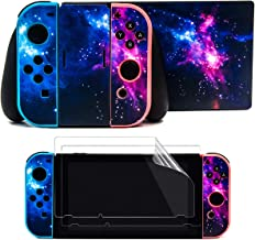 Taifond The Dazzling Galaxy Decals Stickers Set Faceplate Skin +2Pcs Screen Protector for Nintendo Switch Console & Joy-Con Controller & Dock Protection Kit
