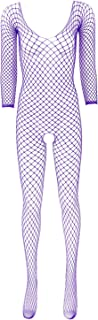 easyforever Womens See Through Cut Out Fishnet Jumpsuit Long Sleeves Closed Toes Stretchy Full Body Stocking