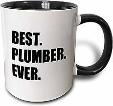 3dRose Best Plumber Ever Fun Plumbing Job Appreciation Gift Black Text Two Tone Mug, 11 oz