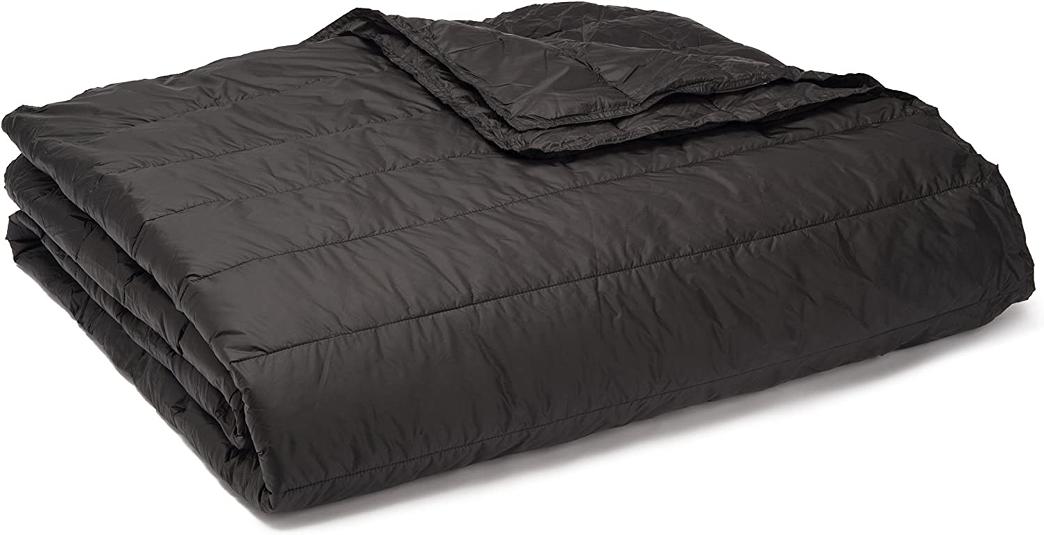 PUFF Down Alternative Indoor Outdoor Water Resistant Blanket with Extra Strong Nylon Cover, King, Black