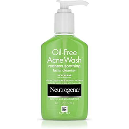 Neutrogena Oil-Free Acne and Redness Facial Cleanser, Soothing Face Wash with Salicylic Acid Acne Medicine, Aloe, and Chamomile to Reduce Facial Redness, 6 fl. oz