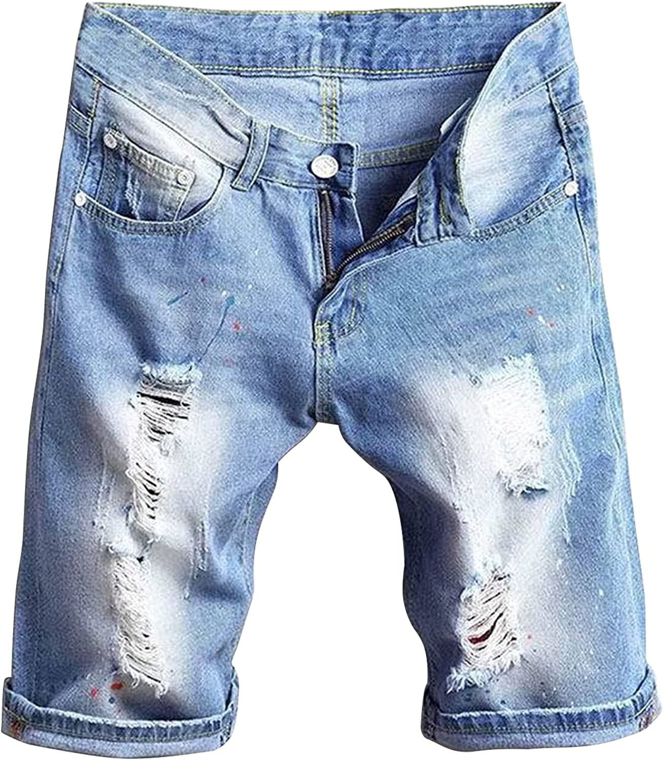 Men's Classic Straight Slim Ripped Jeans Short Distressed Washed Denim Short-pant Casual Fashion Stretchy Jean Shorts