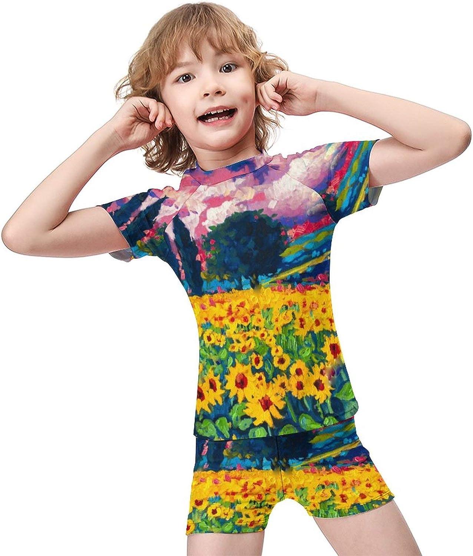 Yiaoflying Kids Boys 2 Piece Swimwear Set - Field Sunflowers Rashguard Swimsuit Trunks