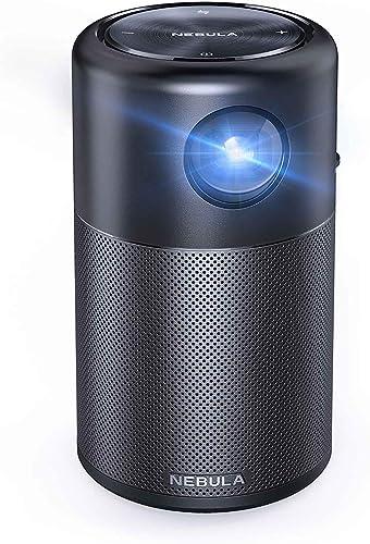 Anker Nebula Capsule, Smart Wi-Fi Mini Projector, Black, 100 ANSI Lumen Portable Projector, 360° Speaker, Movie Proje...
