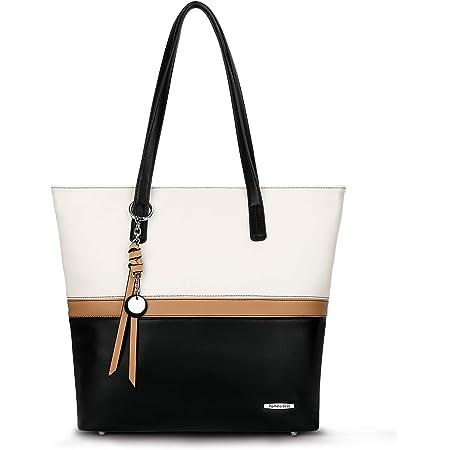 Pomelo Best Handtasche Damen Shopper Groß Damen Tasche für Büro Schule Einkauf (Weiß/Schwarz/Khaki)