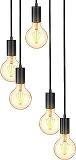 B.K.Licht suspension vintage, 5 douilles E27 d'hauteur différente, noir mat, éclairage plafond rétro, design industriel, Ø...