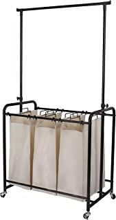 Mythinglogic Rolling Laundry Sorter with 3 Bags Heavy-Duty Laundry Hamper Laundry Cart with Adjustable Hanging Bar, Oil Rubbed Bronze