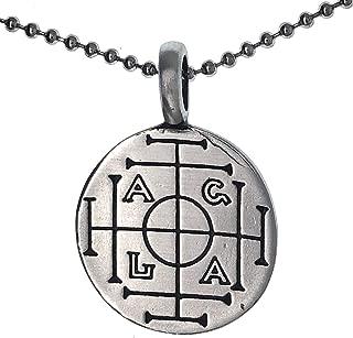 Jewelry AGLA Atah Gibor Le-olam Adonai Amulet pewter pendant necklace Charm Medallion w Silver Ball Chain