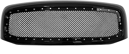 Paragon Front Grille for 2006-08 Dodge Ram 1500/2500/3500 - Gloss Black Grill Grilles with Mesh and Rivets