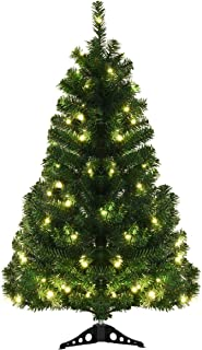 Goplus 4ft Artificial Christmas Tree Tabletop PVC Green Tree with 100 Warm White LED Lights Stable Triangular Stand