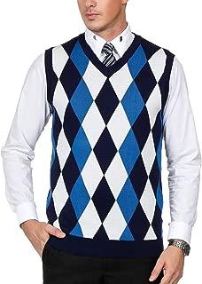 Men's Classic V-Neck Argyle Sweater Vest Lightweight Pullover Vest
