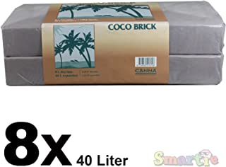 CANNA Coco Brick 40L Expandable Natural Plant Medium Soil Substrate, 40 Liter Expanded - 8 Liter Dry, Reusable (8)