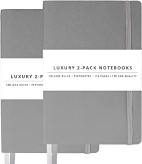 2 Pack Luxury Notebook Journal - 130 Perforated Pages - Thick Paper (120 gsm) - 180° Lay Flat Design - 2 Bookmarks - Elastic Closure - Back Pocket, Set of 2, Steel Grey, Softcover (College ruled)