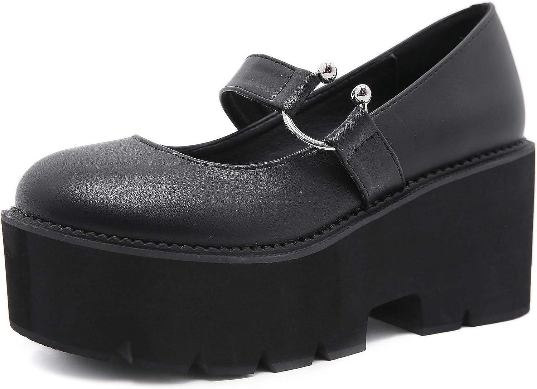 YIYA Women's Pumps 爆買い送料無料 Platform Gothic ランキングTOP5 Shoes Strap Lolita Ankle Buck