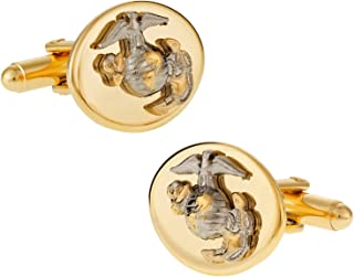 Cuff-Daddy Gold Silver USMC Marine Corp Eagle, Globe & Anchor Cufflinks for Officer with Presentation Box